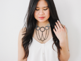 Posh DIY Thread-Wrapped Bib Necklace With Ordinary Key Rings