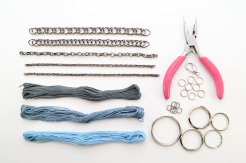 DIY Thread Wrapped Bib Necklace With Key Rings