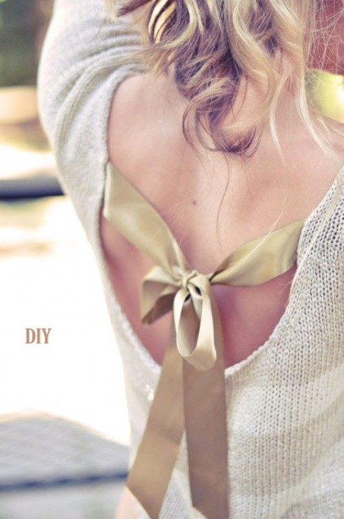 Pretty DIY Back Bow Sweater