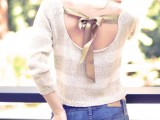 Pretty DIY Bow Sweater In the Back 8