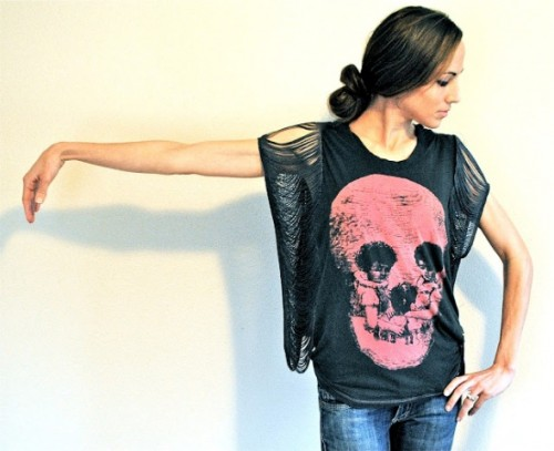 Rock'N'Roll DIY Fringe Sleeve T-Shirt