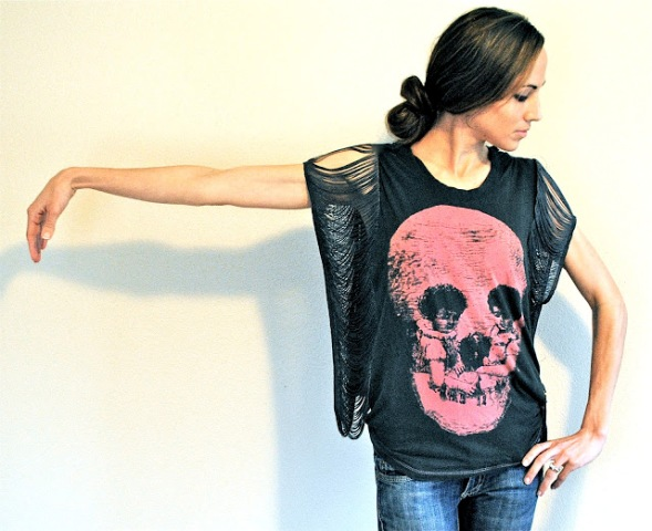 Rock'N'Roll DIY Fringe Sleeve T shirt