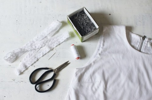 Romantic DIY Lace Trimmed Top Makeover
