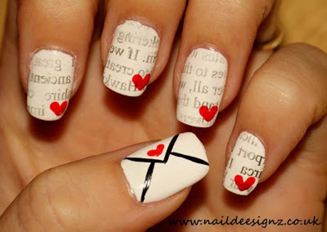 Romantic DIY Love Letter Nail Art