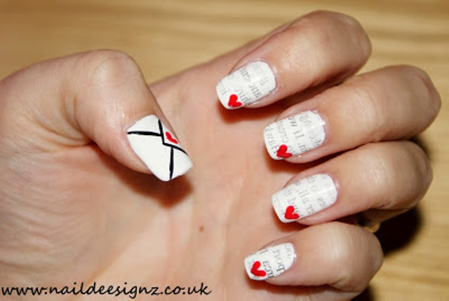 Picture Of Romantic DIY Love Letter Nail Art 2