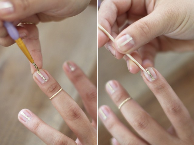 Picture Of Simple DIY Gold Striped Nail Art 5 - Of Simple DIY Gold Striped Nail Art 5