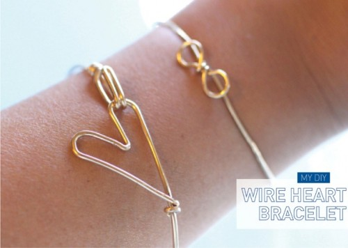 Simple DIY Heart Bracelet Of Wire