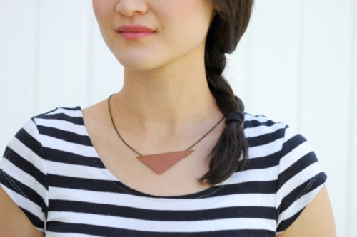 Simple DIY Leather Triangle Necklace