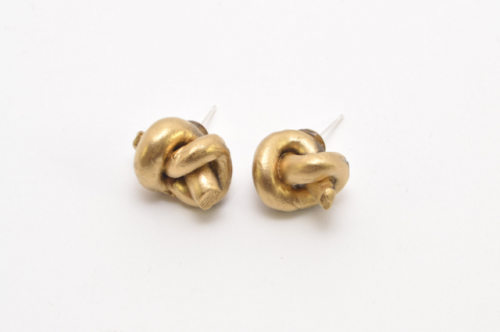 Simple DIY Metallic Knot Stud Earrings