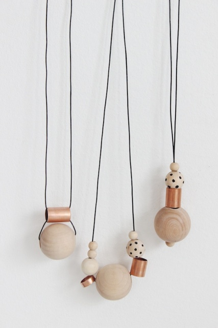 Picture Of Simple DIY Wood And Copper Necklaces 2