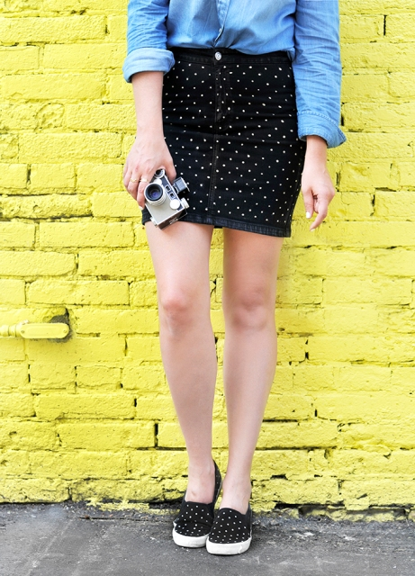 Stylish DIY Dotted Denim Skirt