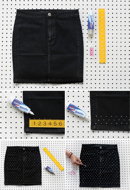 Picture Of Stylish DIY Dotted Denim Skirt 3