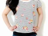 Summer DIY Floral Appliqued Striped Shirt