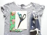 Summer DIY Floral Appliqued Striped Shirt2