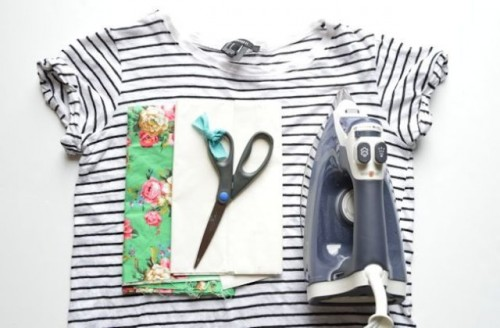 Summer DIY Floral Appliqued Striped Shirt