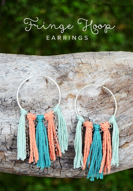 Summer DIY Fringe Hoop Earrings