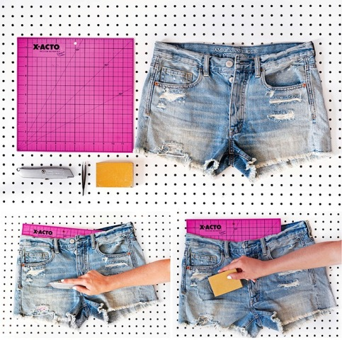 Super Cool DIY Shredded Distressed Denim Shorts