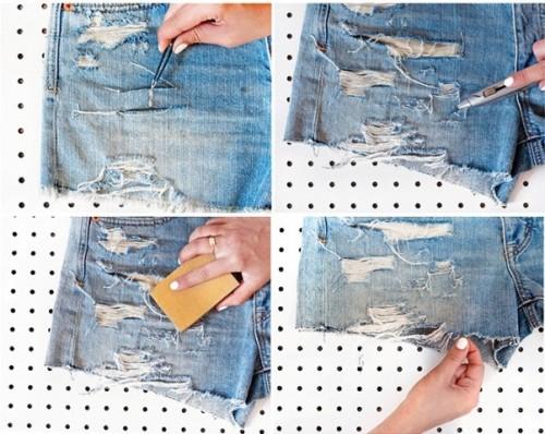 Super Cool DIY Shredded Distressed Denim Shorts - Styleoholic