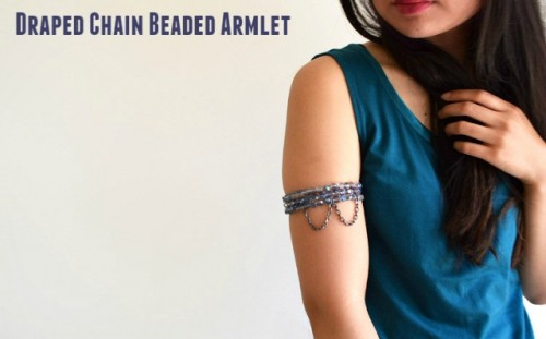 Unique DIY Draped Chain Beaded Armlet