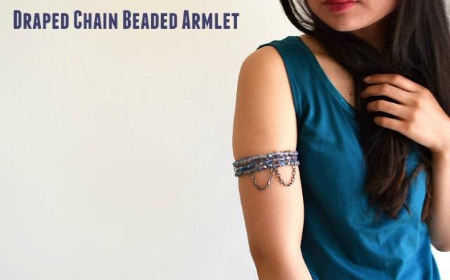 Unique DIY Draped Chain Beaded Armlet