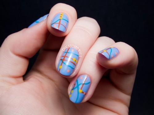 Abstract And Creative DIY Roadmap Nail Design