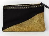 gold dipped glitter clutch