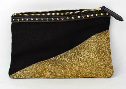 gold dipped glitter clutch