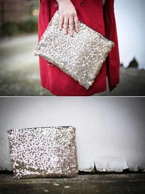 sequin clutch for parties (via shelterness)