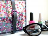colorful plexuglass and leather clutch