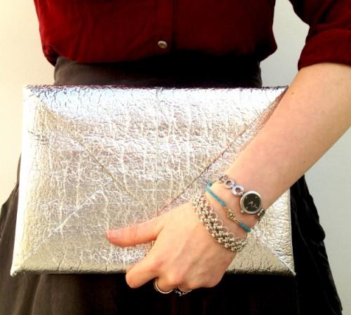 silver elastic clutch (via planb)