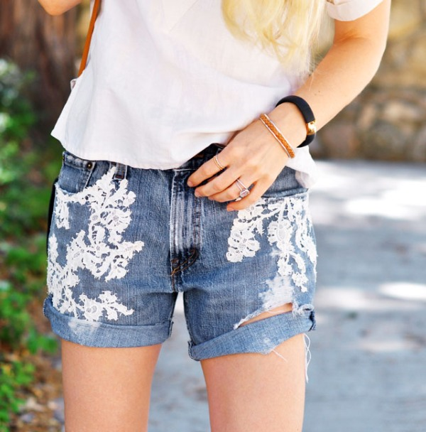 Picture Of adorable diy lace jean shorts design  1