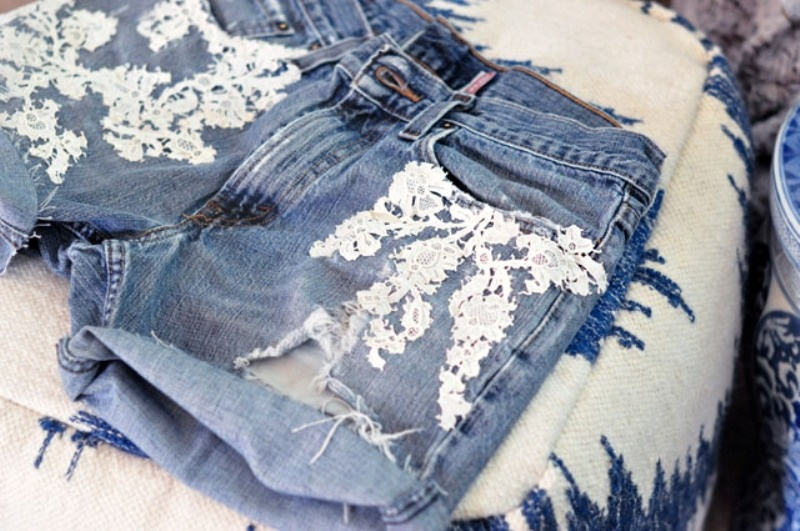 Picture Of adorable diy lace jean shorts design  5