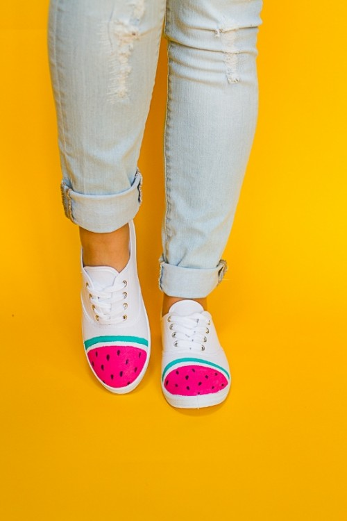 Adorable DIY Watermelon Sneakers Upgrade