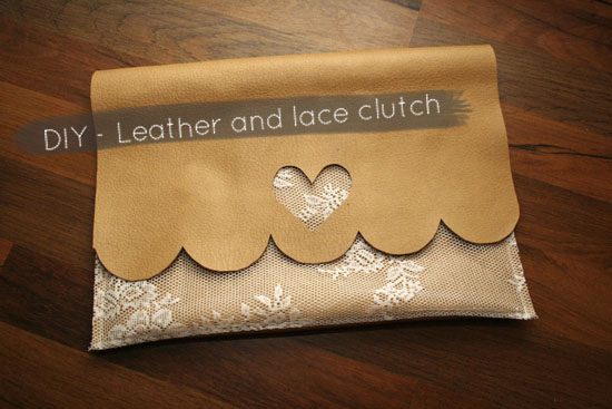 leather and lace clutch