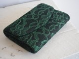 black and green lace clutch