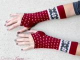 winter-styled arm warmers of socks