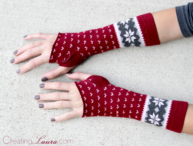 winter styled arm warmers of socks