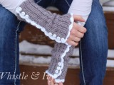 vintage-inspired crocheted arm warmers