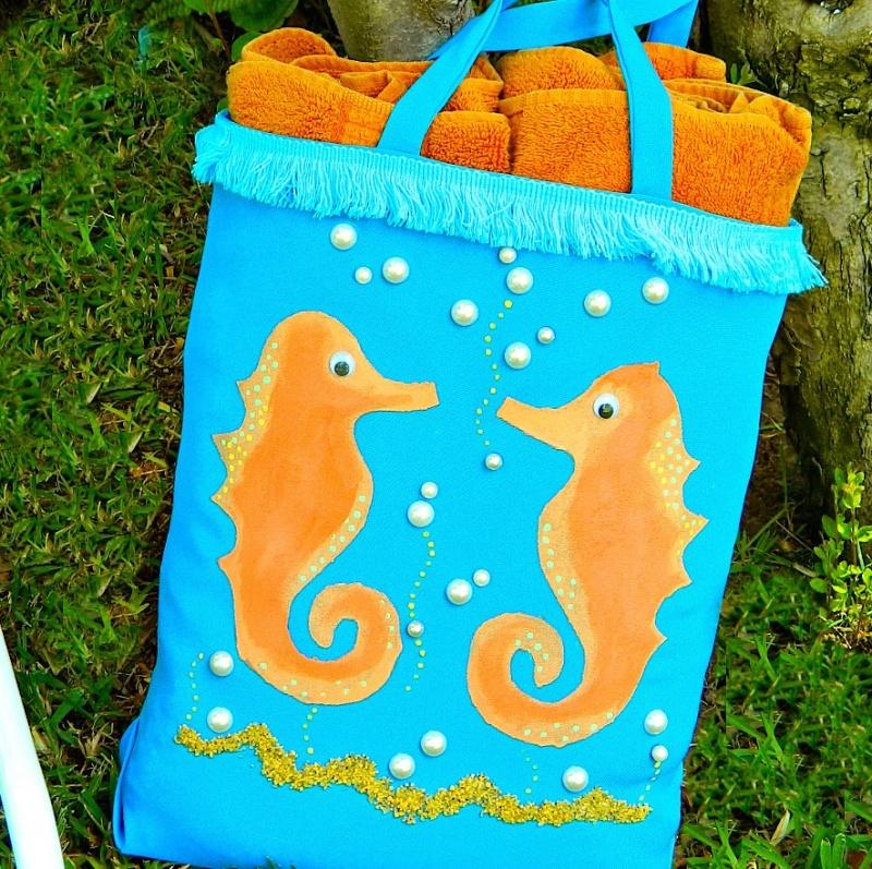 seahorse beach bag