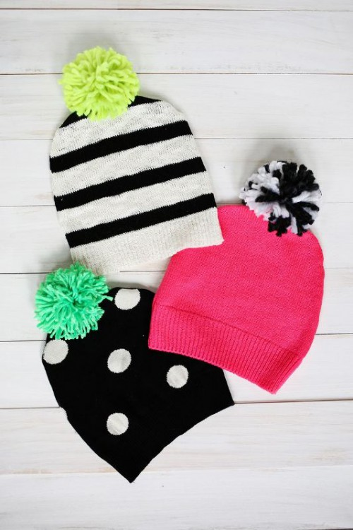 Awesome DIY Pompom Hat From An Old Sweater
