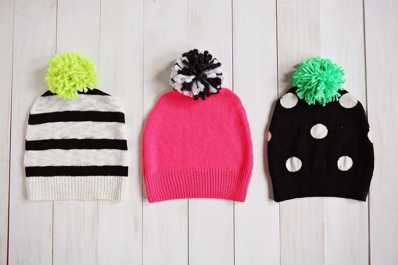 Picture Of awesome diy pompom hat from an old sweater  3