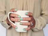 gold and mint chevron nails