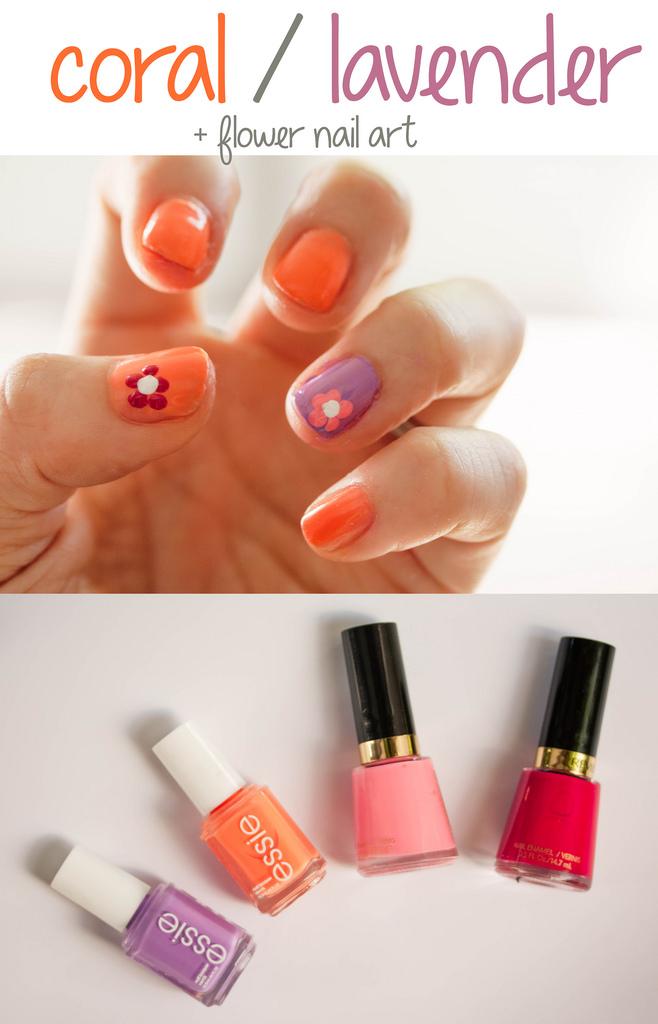 colorful floral nail art