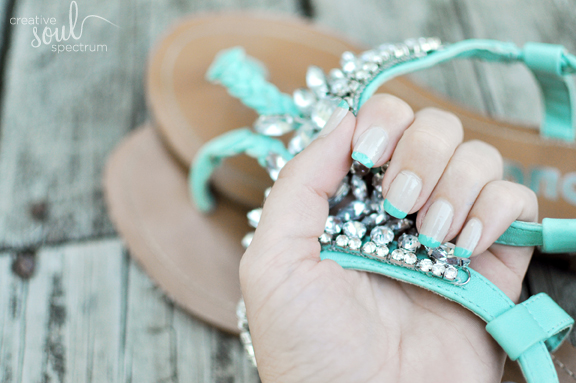 turquoise French nails