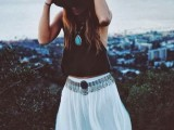 a monochromatic boho outfit with a black top and white skirt, a black hat and statement accessories