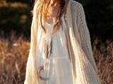 a boho look with a white mini dress with a lace edge, a crochet cardigan, layered necklaces is super cool
