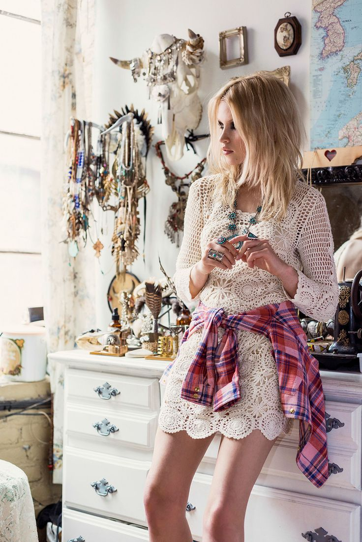 a white crochet lace mini dress, a plaid shirt and a statement necklace for a boho feel