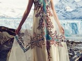 a boho printed maxi A-line dress, layered necklaces and tan shoes for a lovely summer look