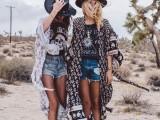 crazy printed tees, blue dneim shorts, printed boho coverups, black hats and booties