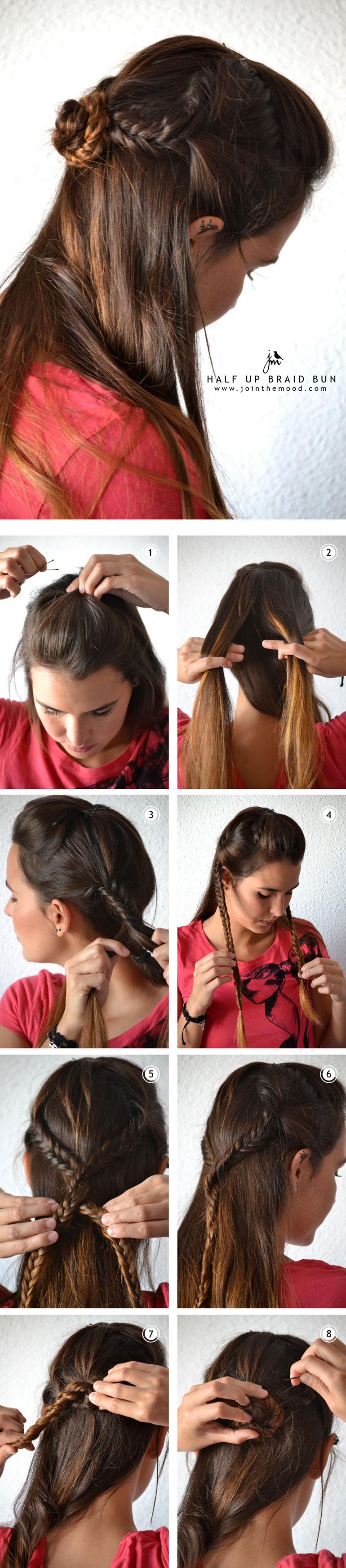 half up braid bun